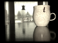 While Kiera continued napping and the snow continued falling, Ali and I shared a cup of tea.